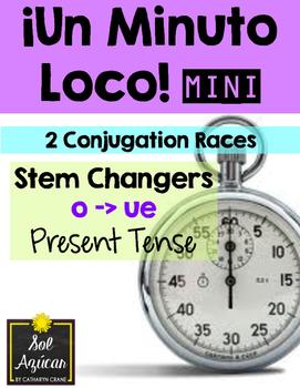 Minuto Loco Mini - Stem Changing Verbs O-UE in Present Tense - Conjugation Races