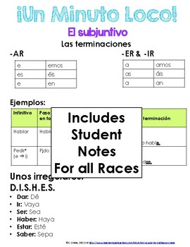 Minuto Loco Mini - Subjunctive BUNDLE - 18 Conjugation Race Sheets