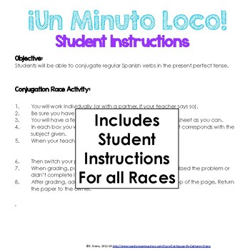 Minuto Loco - The ENTIRE Collection - 180 Races for ALL Spanish Verb Tenses