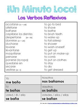 Minuto Loco - Reflexive Verbs Present Tense - Standard Size - 8 Races