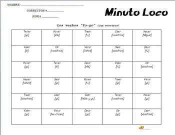 """Minuto Loco, """"yo-go"""" verbs (with vosotros)"""