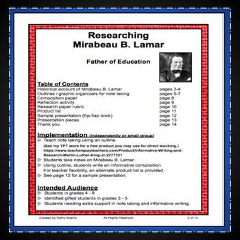 Mirabeau B. Lamar Research Project