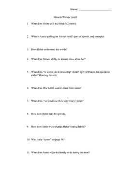 Miracle Worker Comprehension Questions Act II