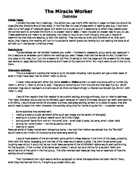 Miracle Worker lesson packet - vocabulary, reading quizzes, activity