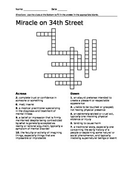 Miracle on 34th Street CrossWord Puzzle with Answer Key