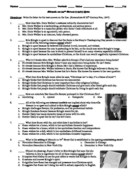 Miracle on 34th Street Film (1947) 15-Question Multiple Ch
