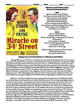 Miracle on 34th Street Film (1947) Study Guide Movie Packet