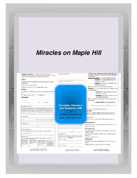 Miracles on Maple Hill Complete Literature and Grammar Unit