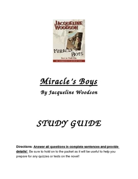 Miracle's Boy Comprehension Packet
