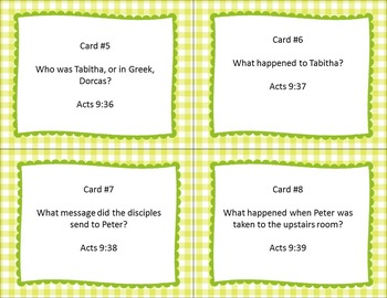 Miracles for Aeneas and Dorcas Bible Task Cards