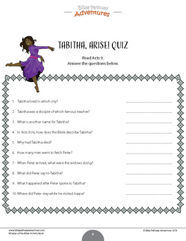 Miracles of the Bible: Tabitha, Arise! workbook