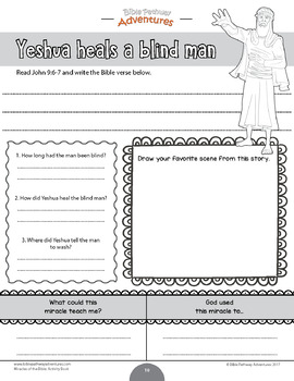 Miracles of the Bible: Yeshua Heals a Blind Man workbook