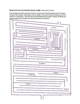 Miraculous Factoring Maze Game