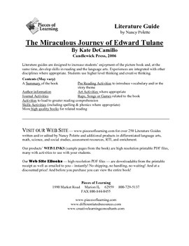 Miraculous Journey of Edward Tulane Literature Guide