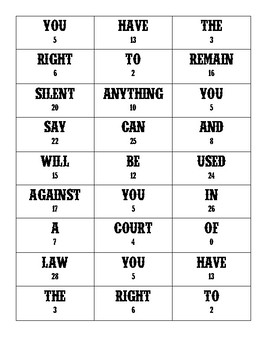 Miranda Rights Puzzle Activity for Law Enforcement I