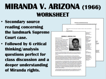Miranda v. Arizona (1966) Reading with Questions - USH/APUSH