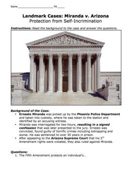 Miranda v. Arizona Landmark Case Activity / Protection from Self-Incrimination
