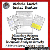 Miranda v Arizona Supreme Court Case Document Analysis Activity Miranda Rights