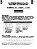 Miranda v. Arizona What Rights Should an Accused Person Have? Worksheet