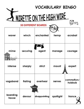 Mirette on the HIgh Wire Vocabulary Bingo