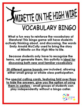 Mirette on the HIgh Wire Vocabulary Bingo