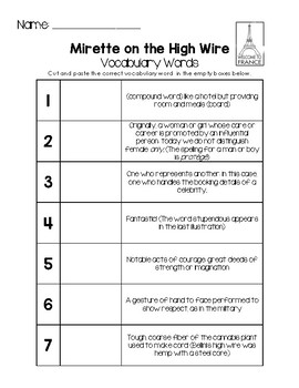Mirette on the High Wire - Vocabulary Words
