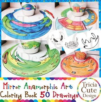 Art Lesson Mirror Anamorphic Art Coloring Book Optical Illusion Mystery Pictures