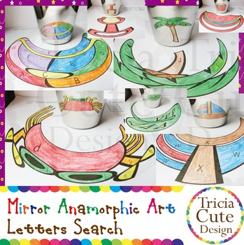 Summer Letter Search Mirror Anamorphic Art Coloring – Colored by Letters Search
