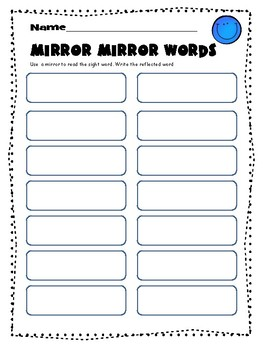 Mirror Dolch Sight Words 1st and 2nd Grade