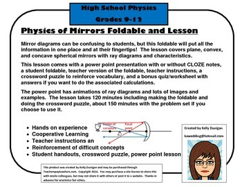 Mirror Foldables: Plane, Concave and Convex Lesson with ppt and foldable