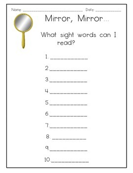 Mirror, Mirror Sight Word Activity Center