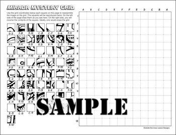 Mirror Mystery Grid Drawing Art Project - Bulldog