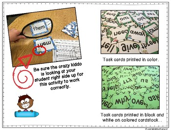 Mirror Sight Words Fry Second 100 Task Cards