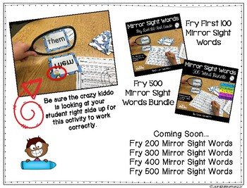 Mirror Sight Words Sample FREEBIE