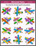 Mirrored Pencils Visual Puzzle, Commercial Use Allowed