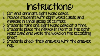 Mirrored Sight Words First Grade Third Nine Weeks