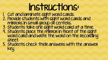 Mirrored Sight Words First Grade First Nine Weeks