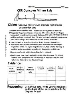 Mirrors - Concave Mirror Lab - CER Claim Evidence Reasoning