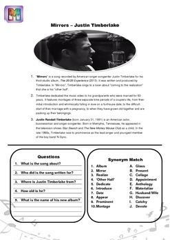 Mirrors Song Worksheet