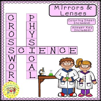 Mirrors and Lenses Science Crossword Puzzle Coloring Worksheet Middle School