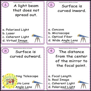 Mirrors and Lenses Task Cards