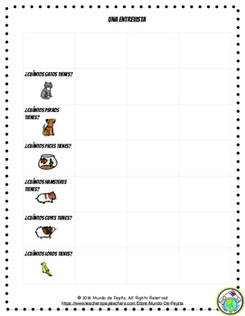 Mis Mascotas Pets Minibook and Activity Theme Pack Spanish Resource