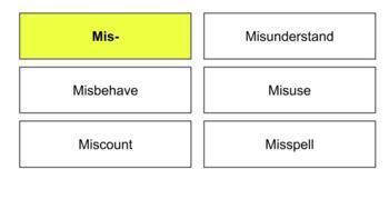 Word Sort for Mis- Prefix