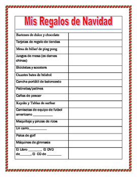 Mis Regalos de Navidad- Create your  Gifts Wish List in Spanish