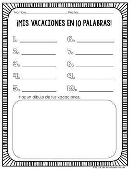 Mis Vacaciones en 1, 5, o 10 Palabras Spanish Writing and Drawing Activity