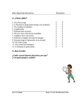 mis deportes favoritos lectura my favorite sports spanish reading worksheet. Black Bedroom Furniture Sets. Home Design Ideas