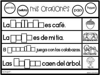 Mis oraciones de otoño  (Complete the sentence in Spanish - Fall Edition)