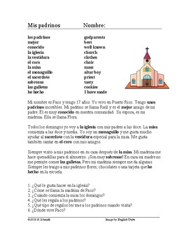 Mis padrinos Lectura - My godparents Spanish Reading (iglesia, misa)