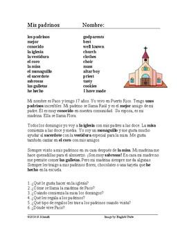 Mis padrinos Lectura y Cultura: My godparents Spanish Reading (iglesia, misa)