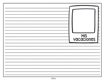 Mis vacaciones writing template
